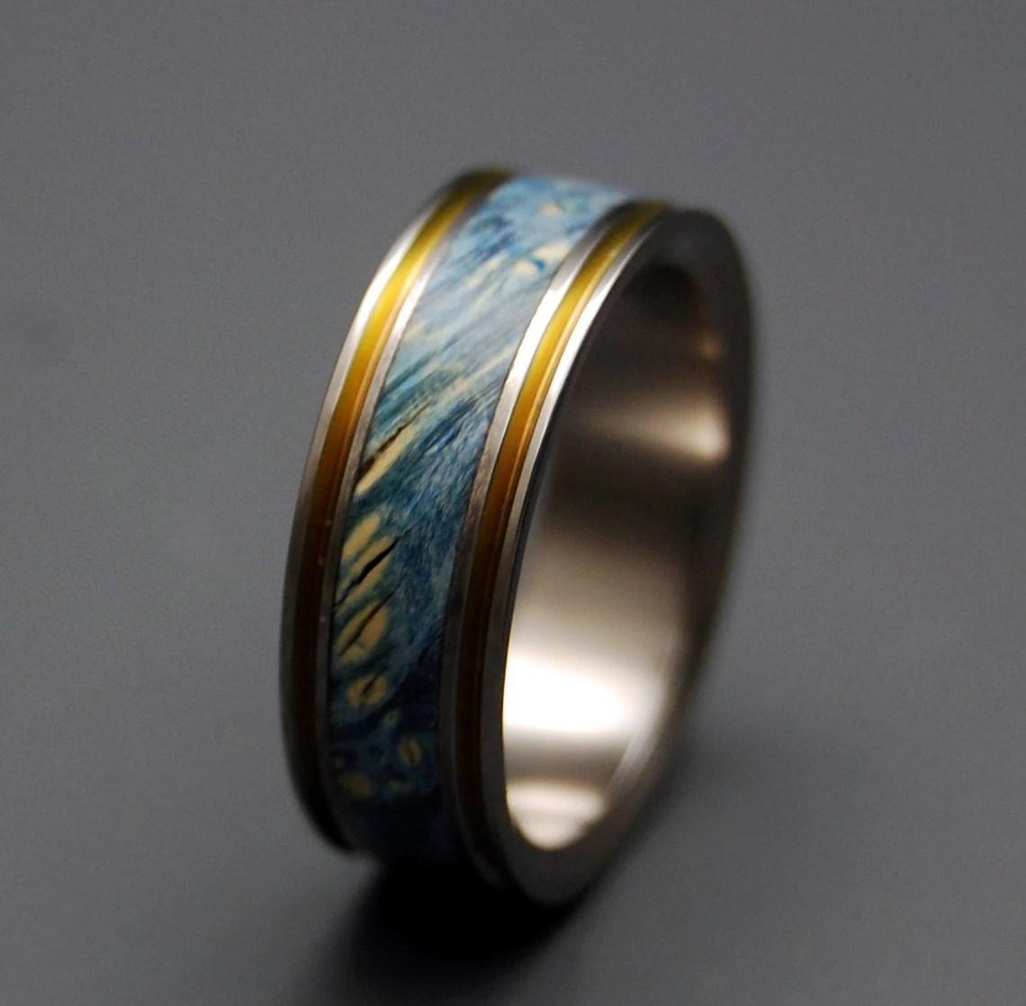 titanium wedding ring wood ring wedding titanium wedding band zoom