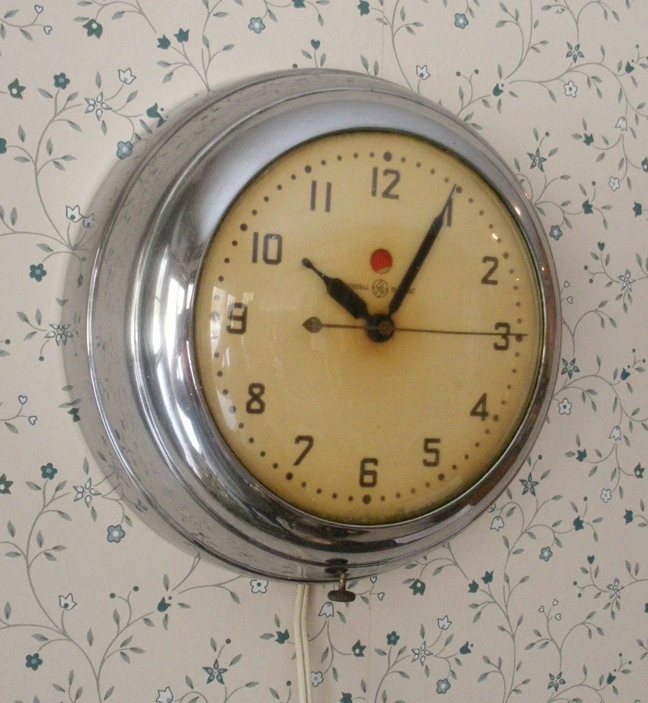Retro Wall Clock Vintage Chrome Ge Electric Kitchen Wall Clock