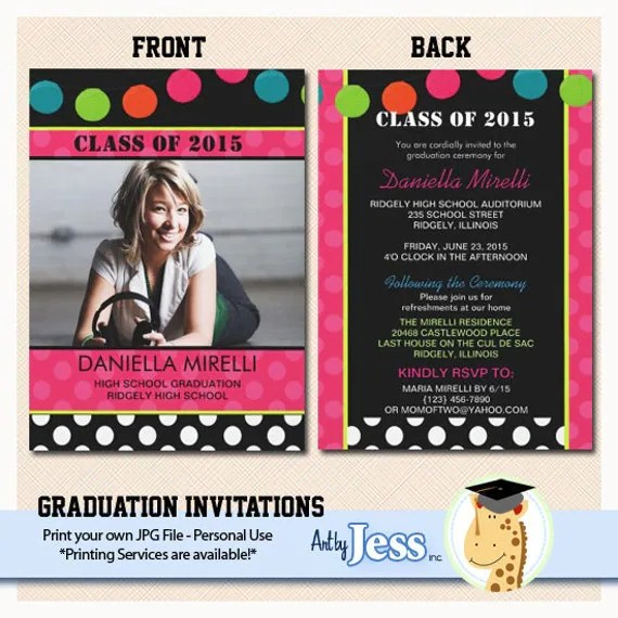 Party Lights Graduation Invitations Print Your Own Digital