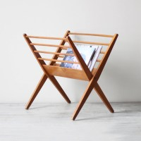danish modern wood magazine rack by HRUSKAA on Etsy