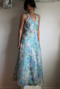 SALE Pastel Flowers 70s Prom Dress