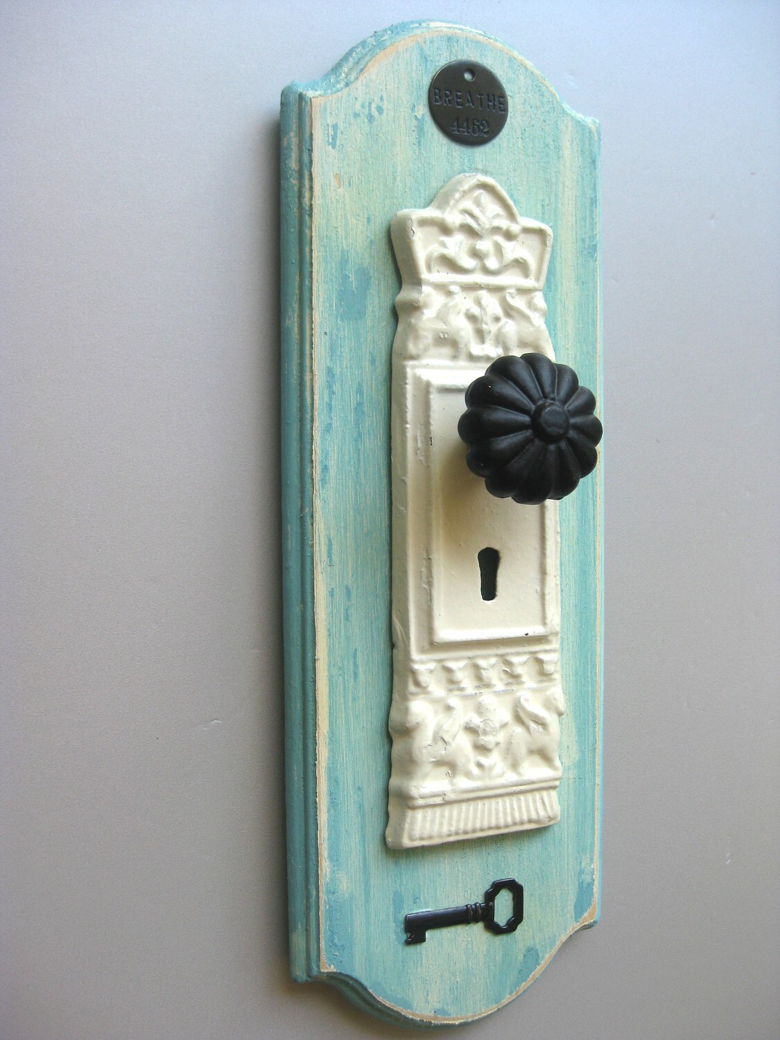 Farmhouse Hand Towel Holder Farmhouse Fresh Aqua Doorknob Hook Breathe