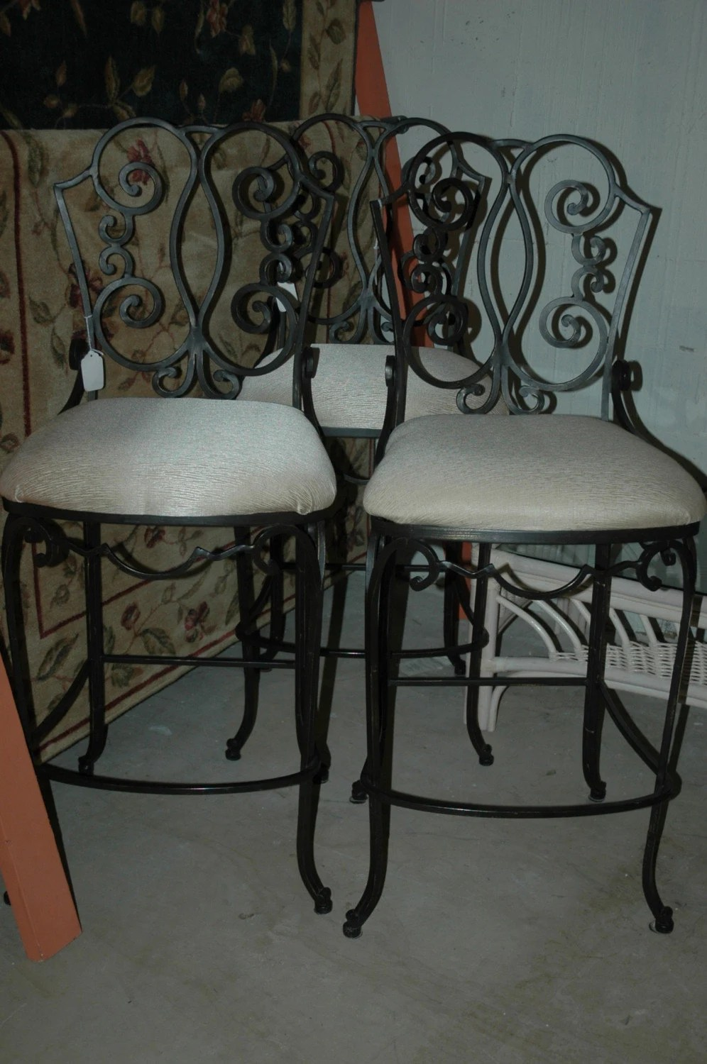 3 scrolled heavy wrought iron bar stools wrought iron kitchen chairs WROUGHT IRON BAR STOOLS ecru color cushions zoom