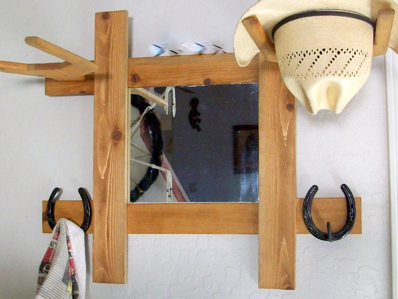Hat Holders For Walls Cowboy Hat Rack With Mirror And Hooks Wall Mount Hall