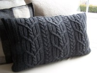 Upcycled Gray Cable Knit Sweater Pillow Cover