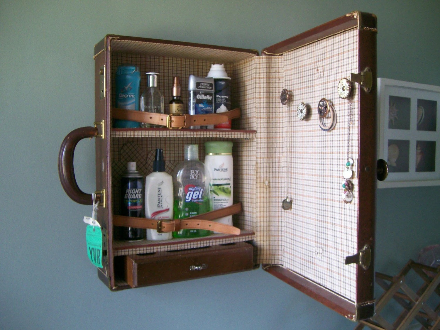 Vintage Suitcase Shelves For Sale O N S A L E Rustic Vintage Suitcase Vanity Brown Leather
