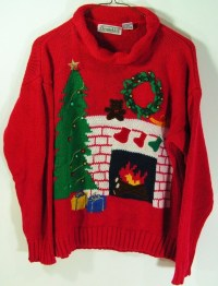 ugly christmas sweater womens medium red fireplace by ...
