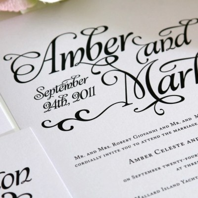 Shabby Chic Wedding Invitation Black and by ShineInvitations