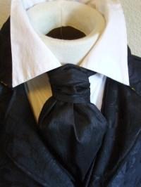 FORMAL Victorian Ascot Tie Cravat Midnight Black Dupioni