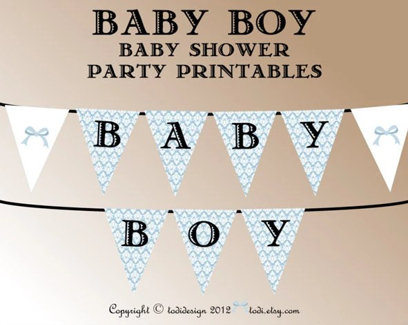 Baby Shower Party Printables INSTANT DOWNLOAD- Damask Baby Boy - baby shower template