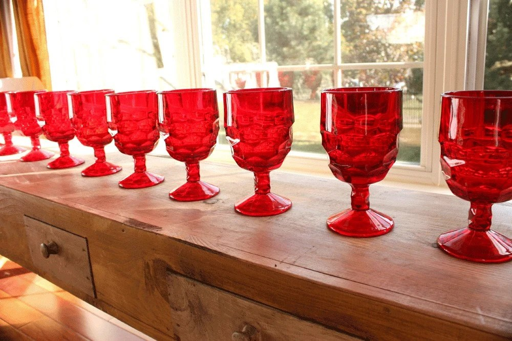 Wine Glasses Vintage Ruby Red Goblets Dozen Excellent