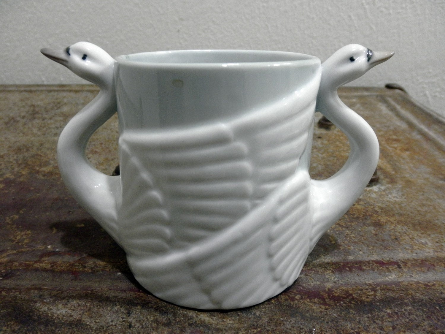 Double Handled Coffee Mugs Adorable Eggshell Double Handle Swan Coffee Mug