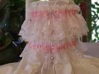 Plus Size Wedding Garter Set/ White and Pink