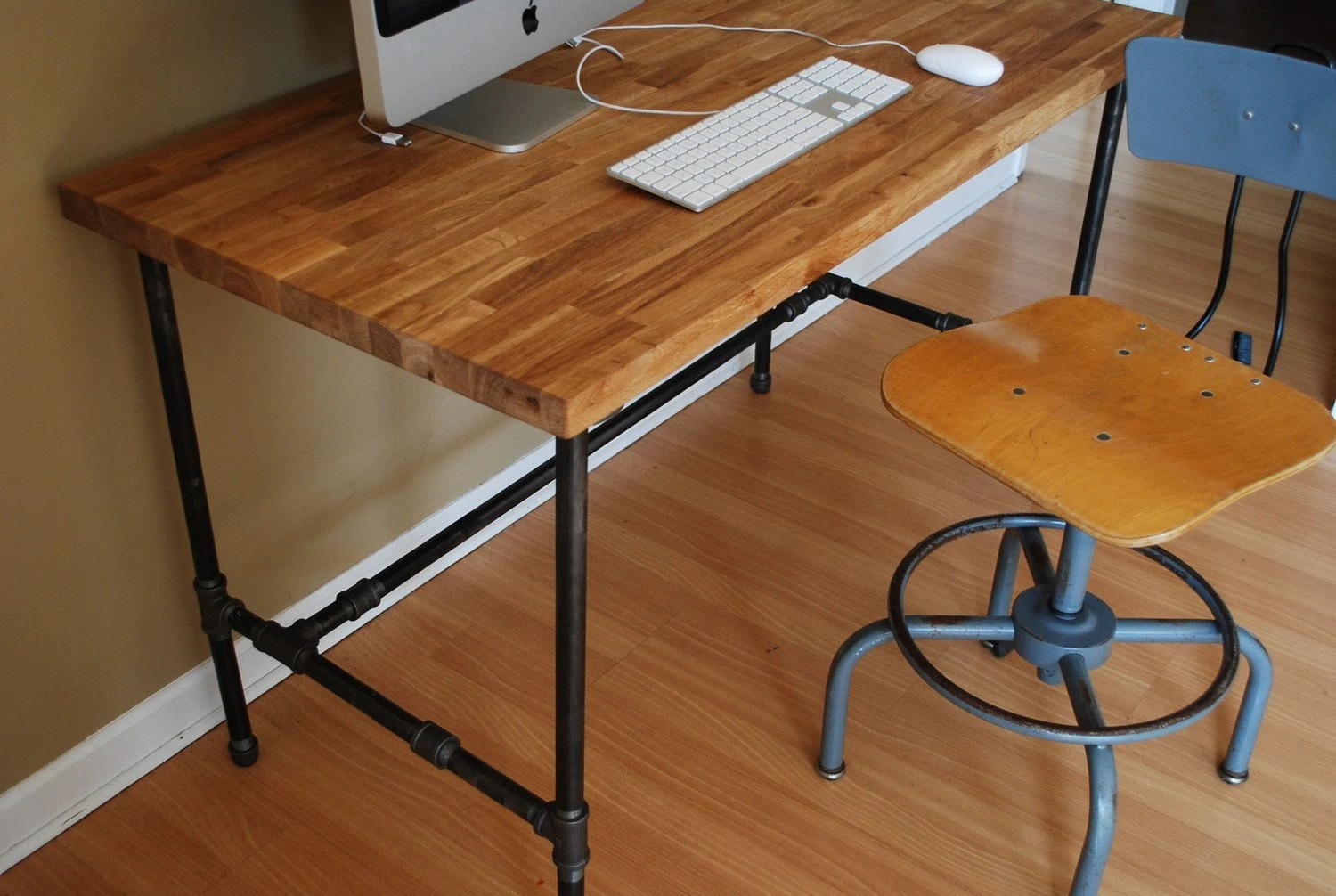 Metal Leg Desk Industrial Desk With Oak Top And Steel Pipe Legs