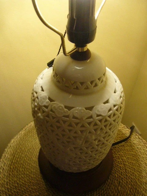 Design Lamp Lamp Vintage Seyei Pierced Porcelain Lamp Blanc De Chine By Modernlogic