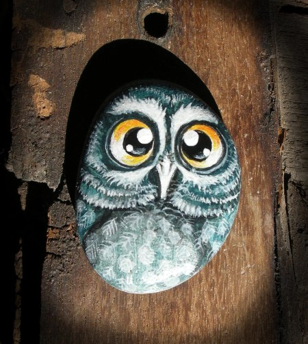 Painted Stone Owls