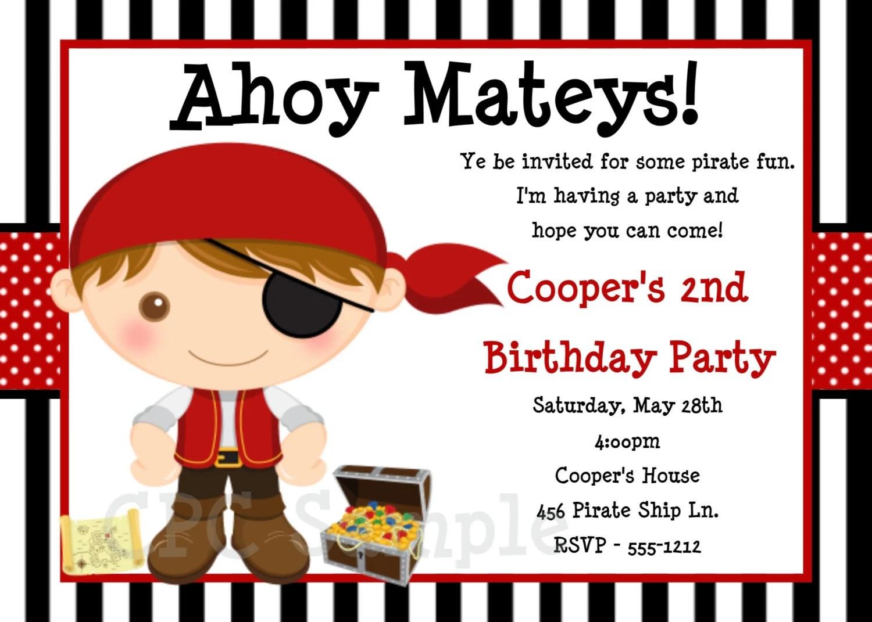 Pirate Birthday Invitation Pirate Party Invitations