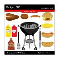 Backyard BBQ Set digital clip art barbecue by peachpopsclipart