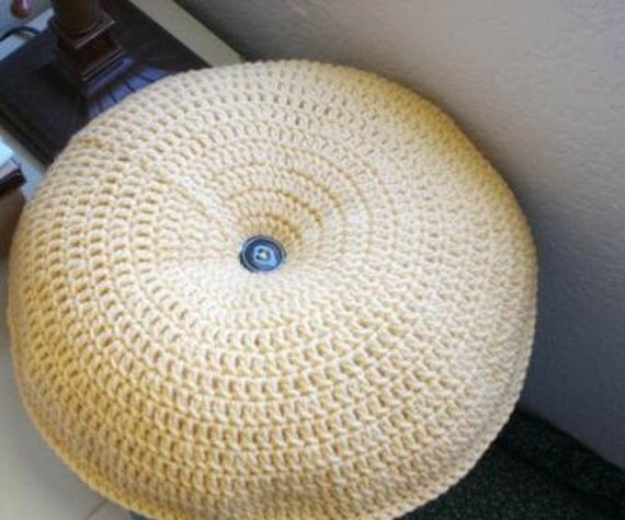 Sale Crochet Throw Pillow Round Pillow Yellow Tufted