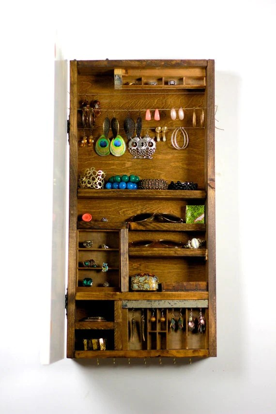 Wooden Vintage Bedroom Furniture Wooden Jewelry Storage Made From Rustic Wood Wall Hanging.....