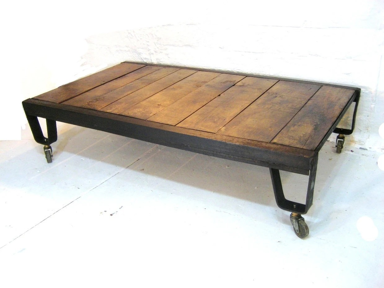 Wood And Metal Coffee Table Industrial Coffee Table Natural Wood And Iron Metal Vintage