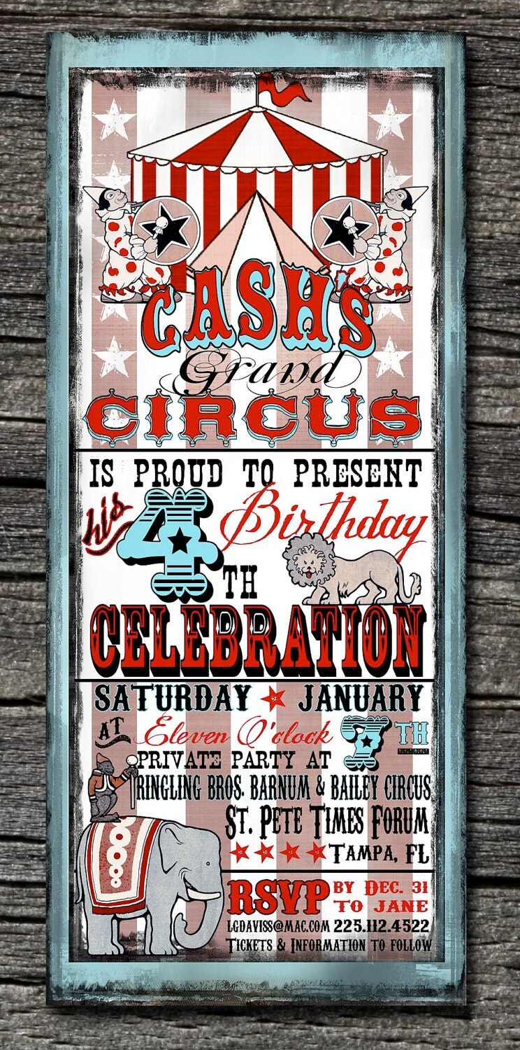 Vintage Circus Invitations And Thank You Cards Sold