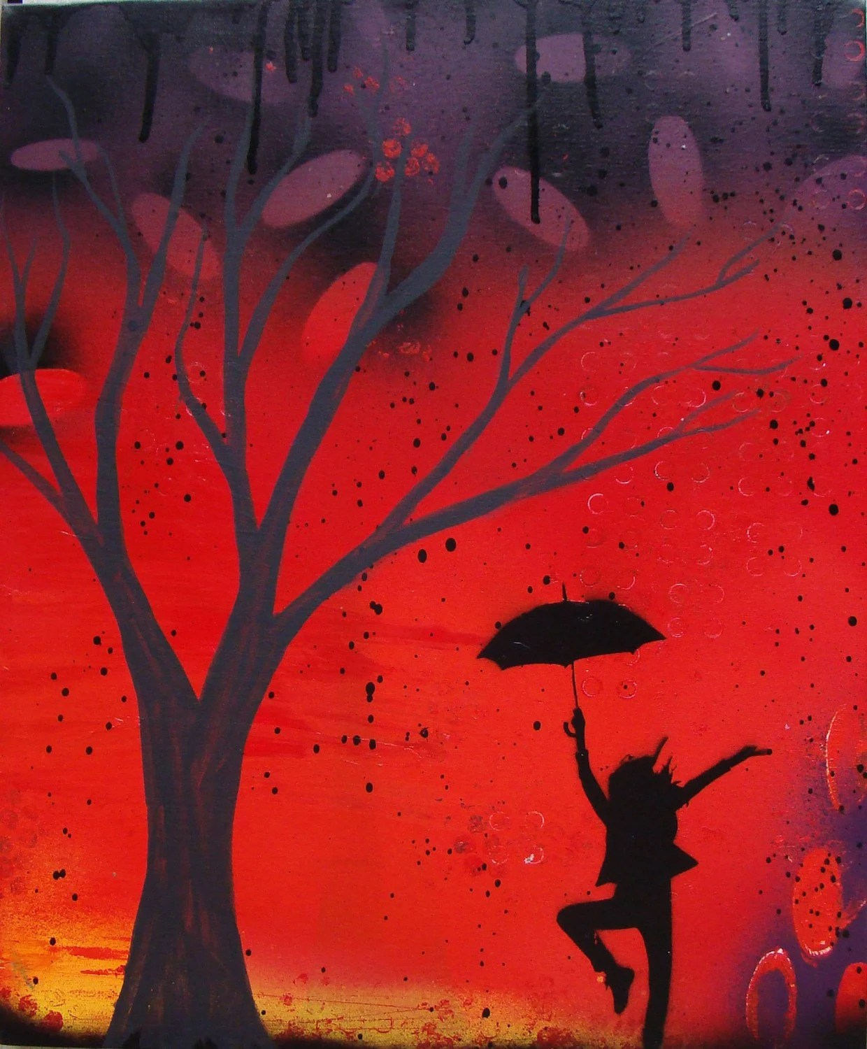 Abstract Painting Of Girl Dancing Modern Abstract Tree Painting Silhouette Dancing In The Rain