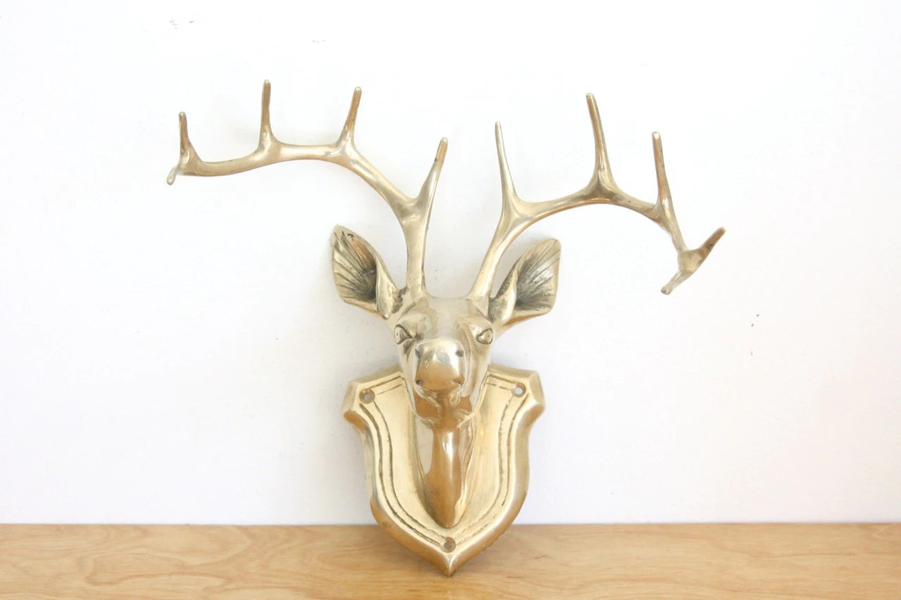 White Porcelain Deer Head Rare Vintage Brass Wall Mounted Deer Head