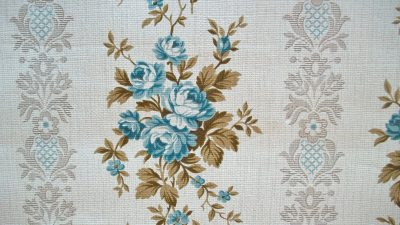 Vintage French 1940s Wallpaper Blue Rose Ticking