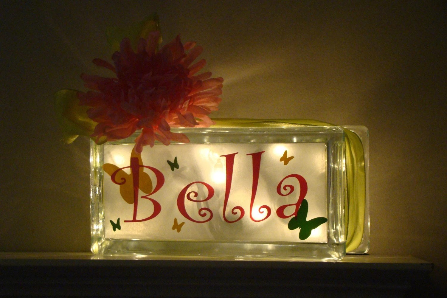 Boys Room Night Light Girls Glass Block Night Light Butterflies Daisies Vinyl