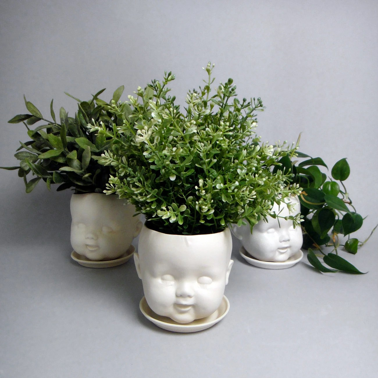 Planter Heads Porcelain Baby Doll Head Planter Or Candy Dish Hairline