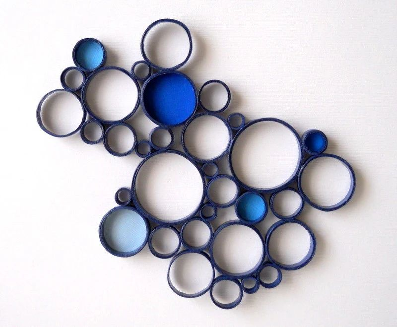 Paper wall sculpture circles blue navy bubbles round