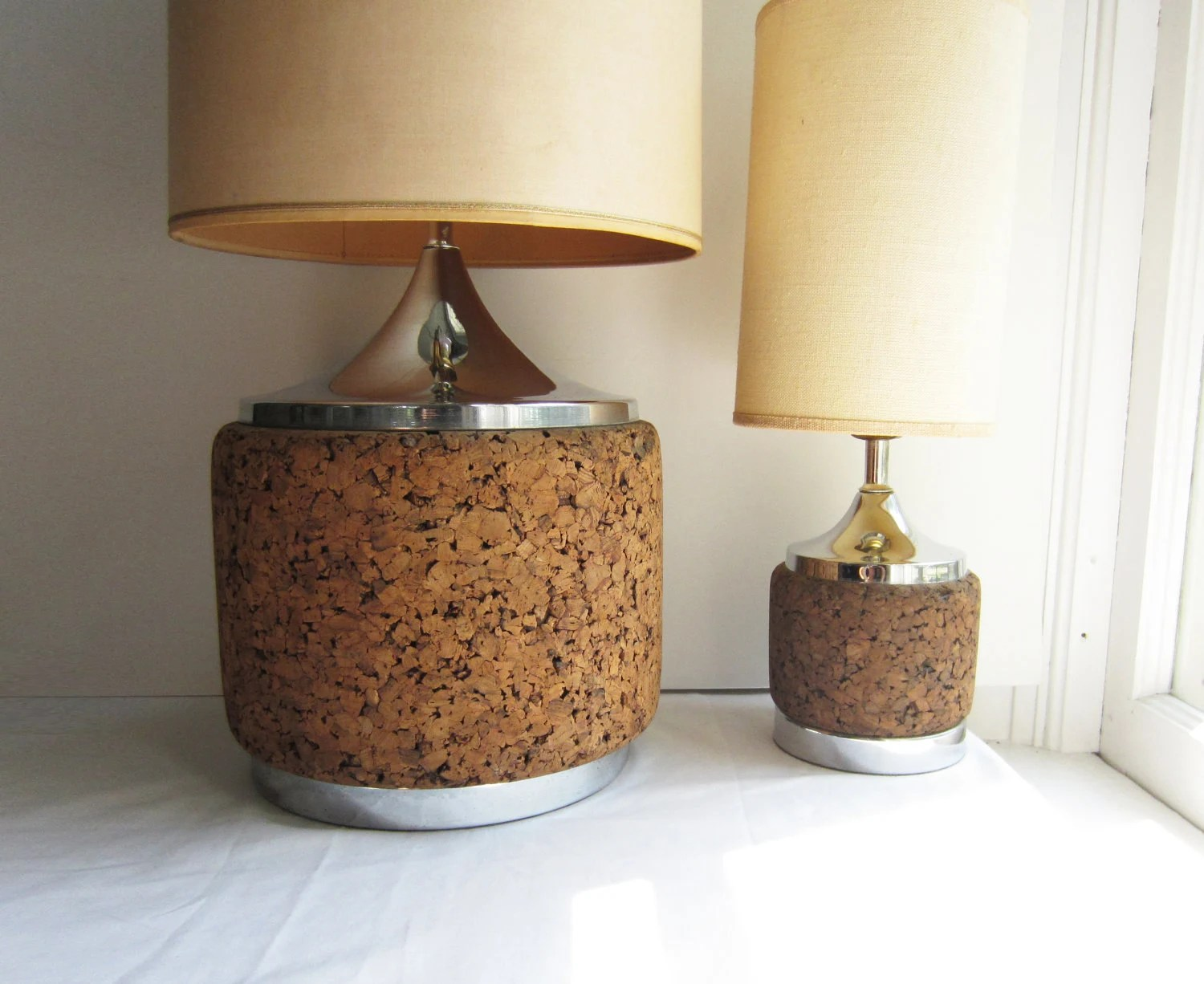 Large Lamps For Sale Sale Vintage Cork And Chrome Lamps Pair Of Large And Small