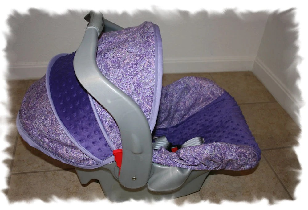 Infant Car Seat Covers Girl Purple Paisley Cover With Purple Minky Infant Car Seat Cover