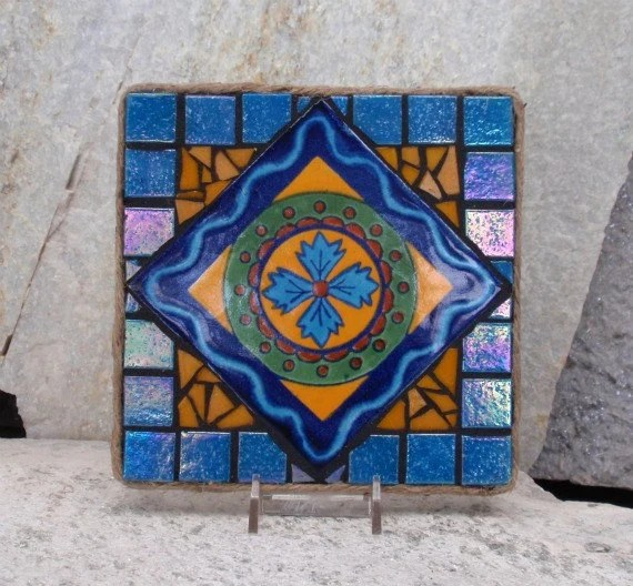 Iridescent Blue Yellow Mexican Tile Mosaic By