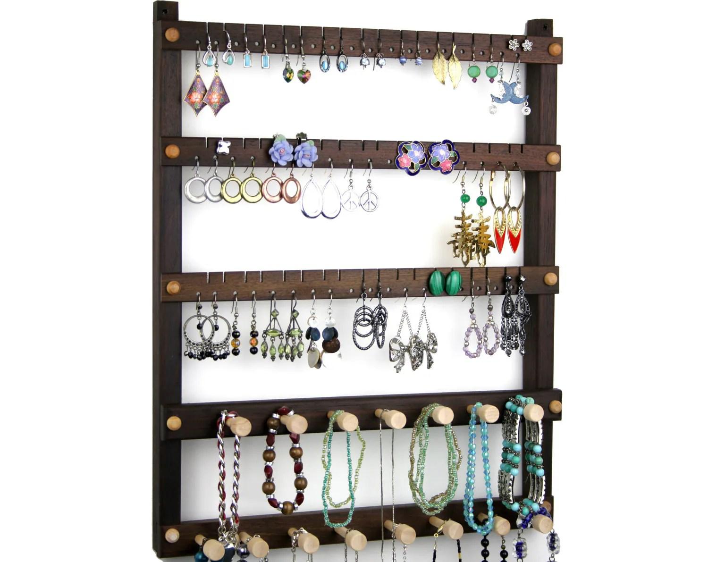 Jewelry Holder Peruvian Walnut Earring Holder Hanging