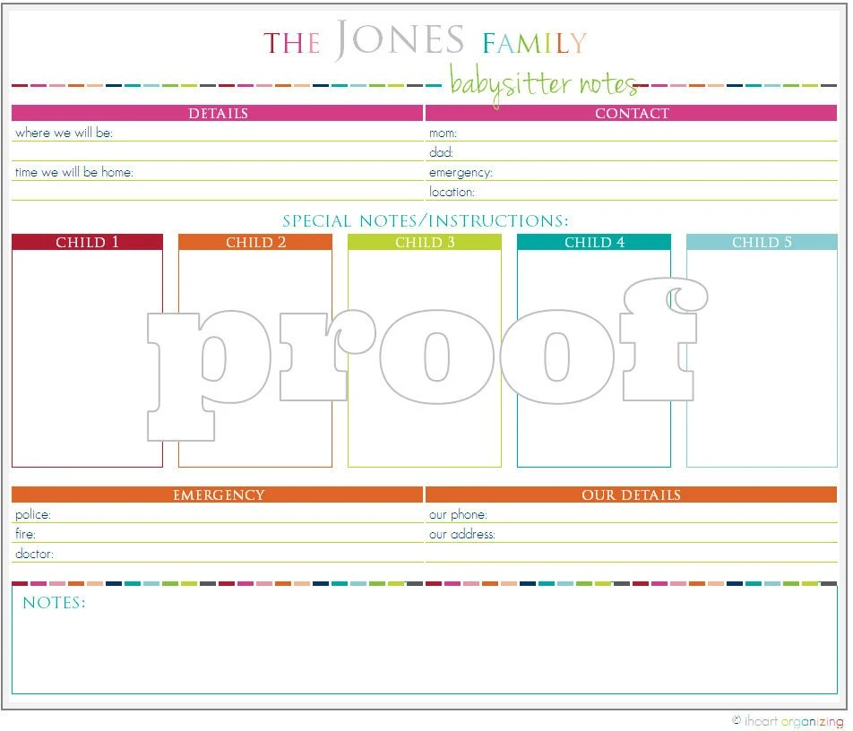 Babysitter information sheet template - visualbrainsinfo - babysitting information sheets