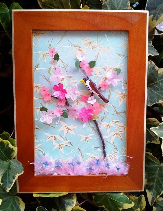 Bird Decor 3d Wall Art Shadow Box Art With Japanese Paper