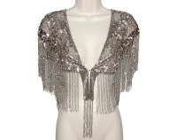 Beaded Sequin Shawl Art Deco Fringed Luxurious