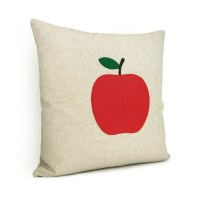 Natural beige pillow cover with a felt apple applique ...