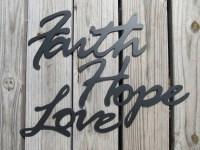 Items similar to Faith Hope Love - Metal Art Wall Decor on ...