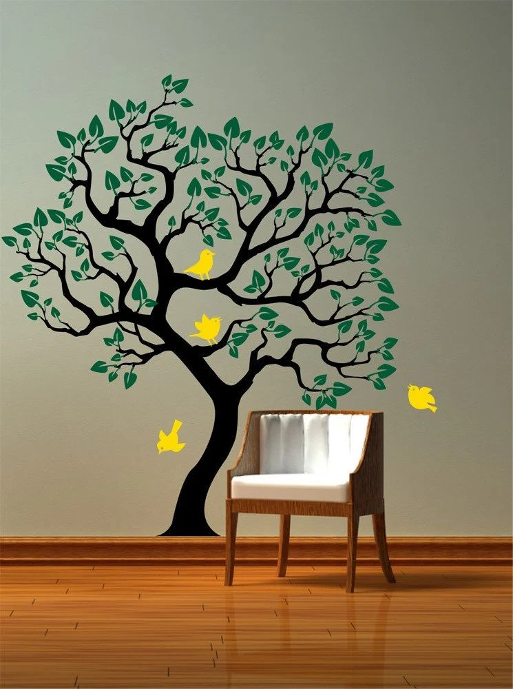 Vinyl wall decal tree with birds removable sticker original