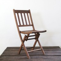 Wood Folding Chair // vintage wood slat folding chair