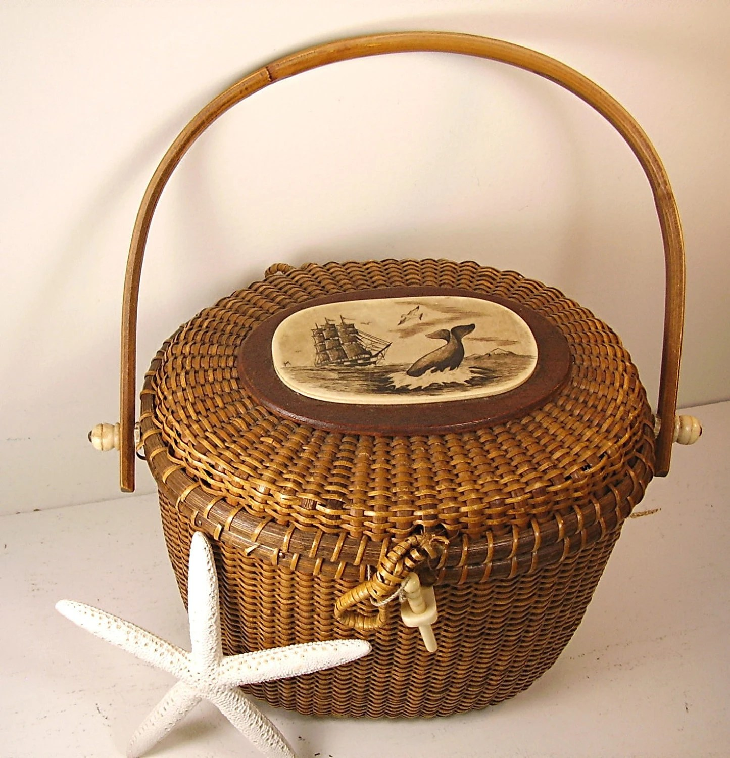 Oval Kitchen Island Vintage Basket Nantucket Purse Signed Rare