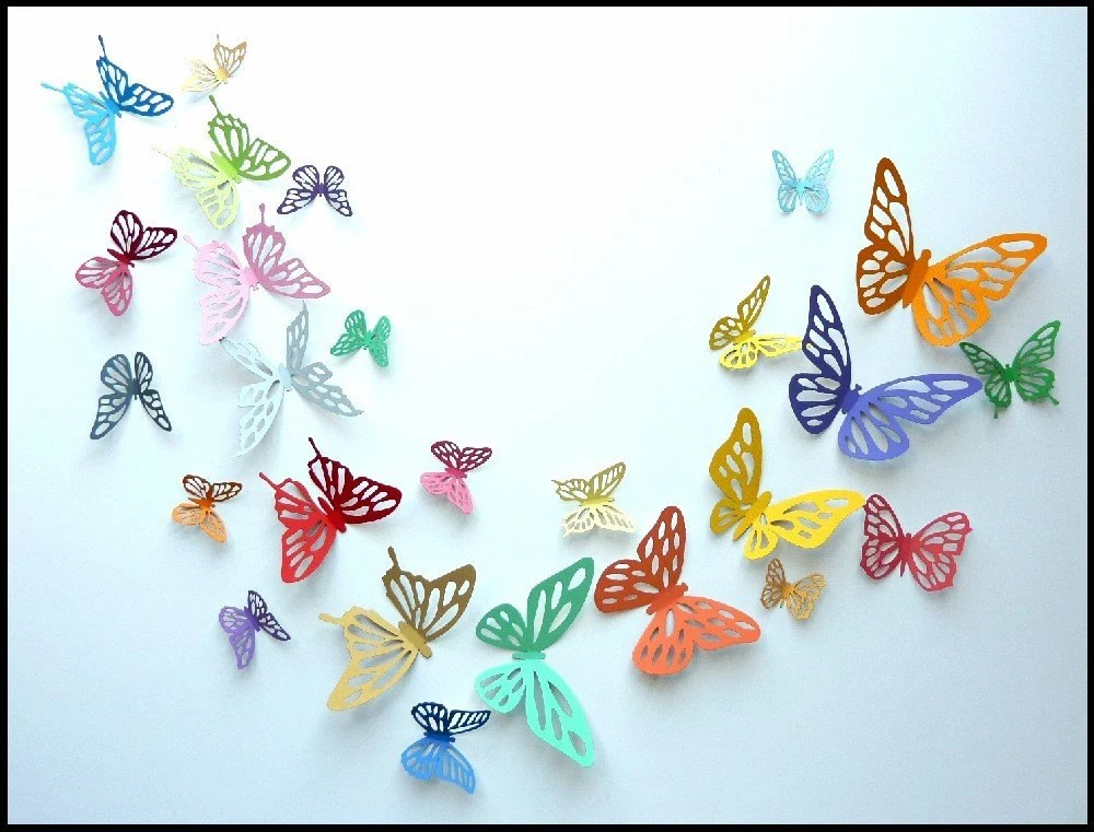 Create My Own 3d Name Wallpaper 3d Wall Butterfly 60 Colorful Butterflies For Nursery