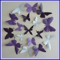 3D Wall Butterflies 30 Lavender Lilac Purple Dark Plum