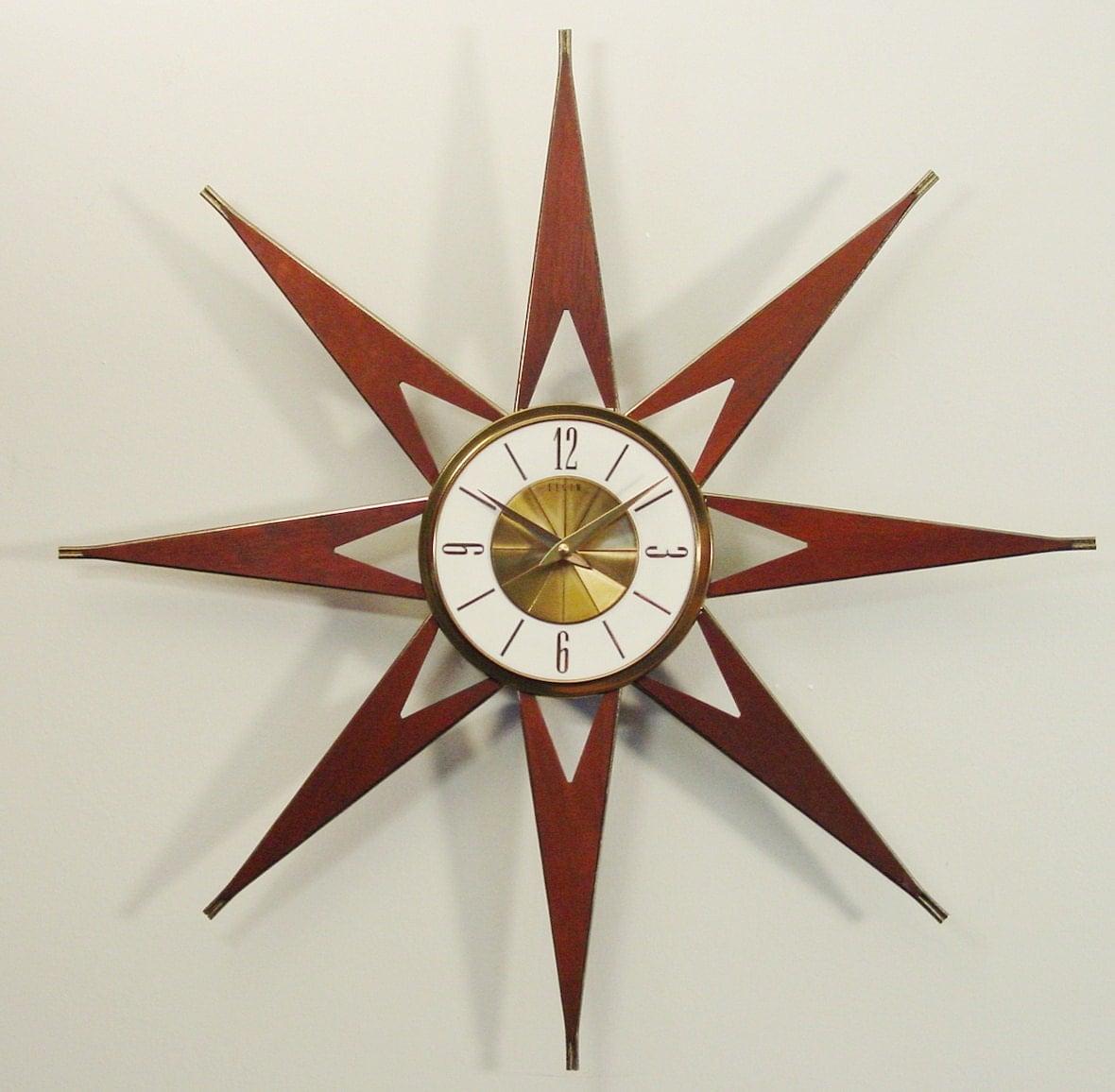 Atomic Wall Clocks Made In Usa Mid Century Modern Starburst Clock By Elgin Atomic Sunburst