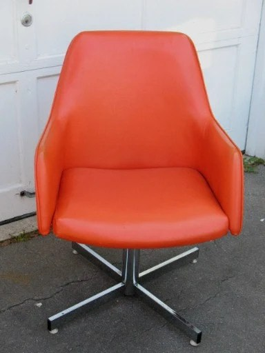 Retro Orange Vinyl Sofa Vintage Retro Orange Vinyl Swivel Arm Chair Chrome Base By