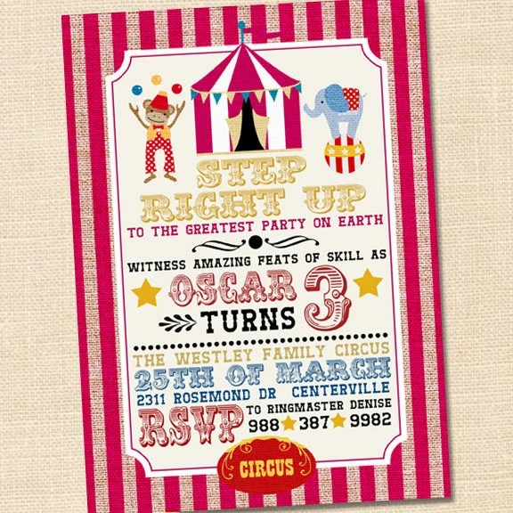 Step Right Up Circus Invitation Circus Themed Party Circus - circus party invitation