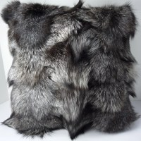 Real Genuine Silver Fox Sections Fur Pillow new made in usa